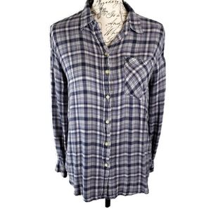 Joe Fresh L soft flannel blues and white